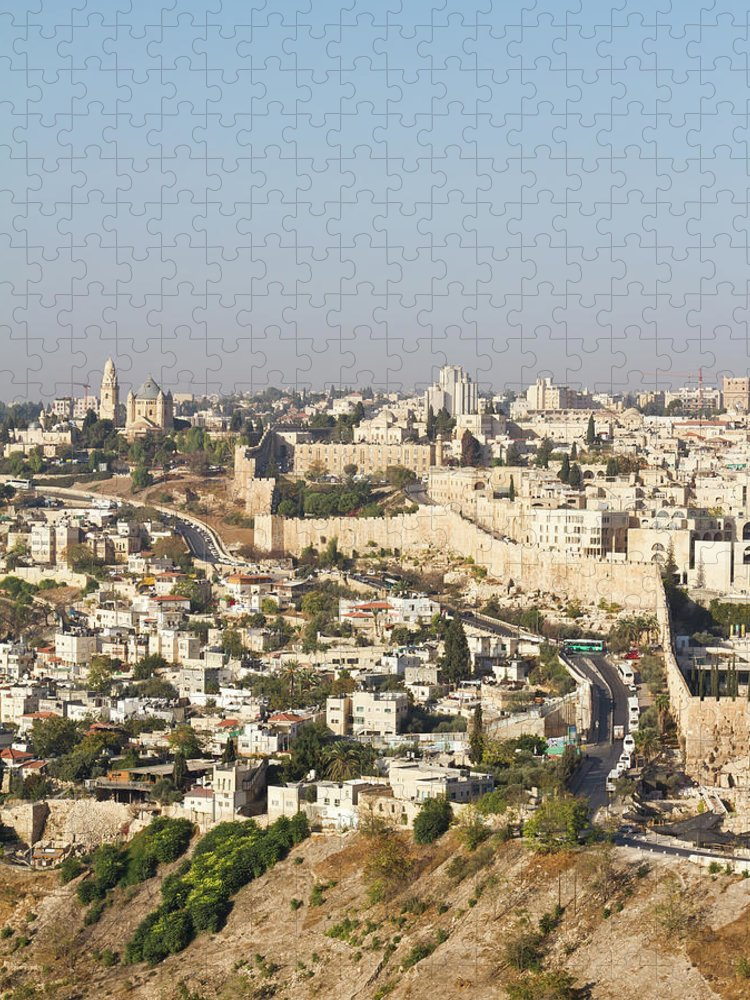Built Structure Puzzle featuring the photograph Jerusalem City Wall From A Distance by Raquel Lonas