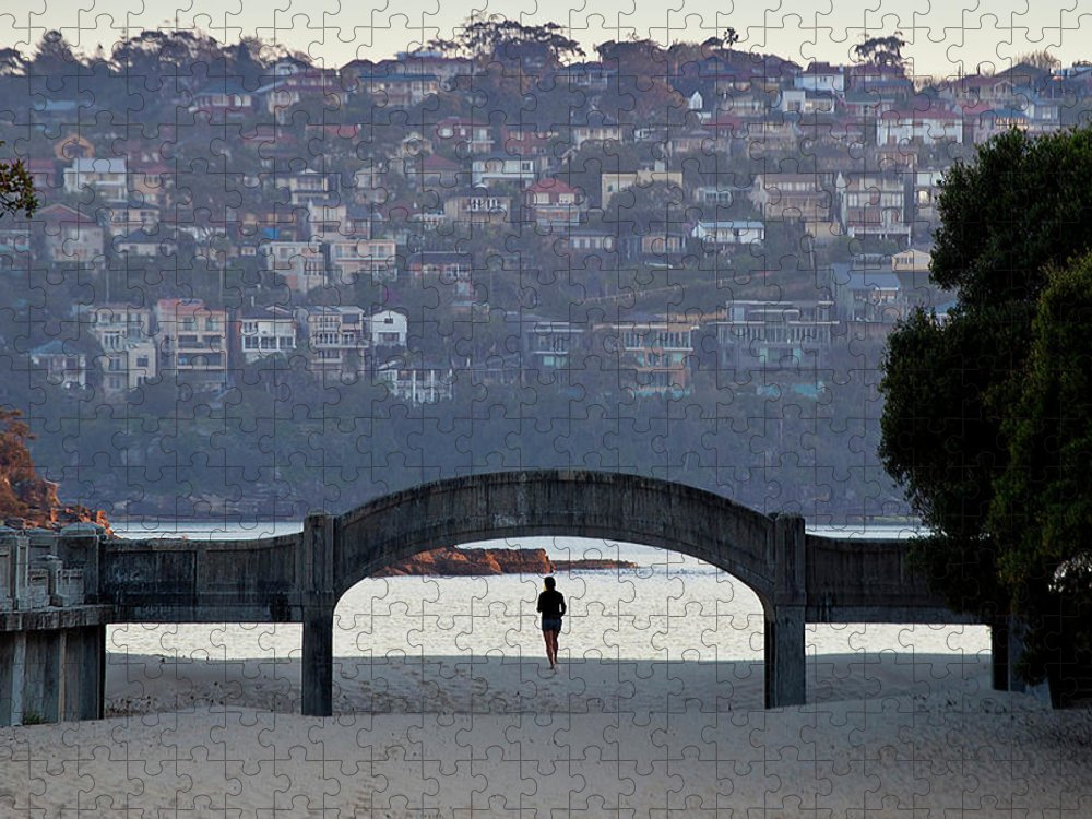 Scenics Puzzle featuring the photograph Jogging On Balmoral Beach by Image By Erik Pronske Photography