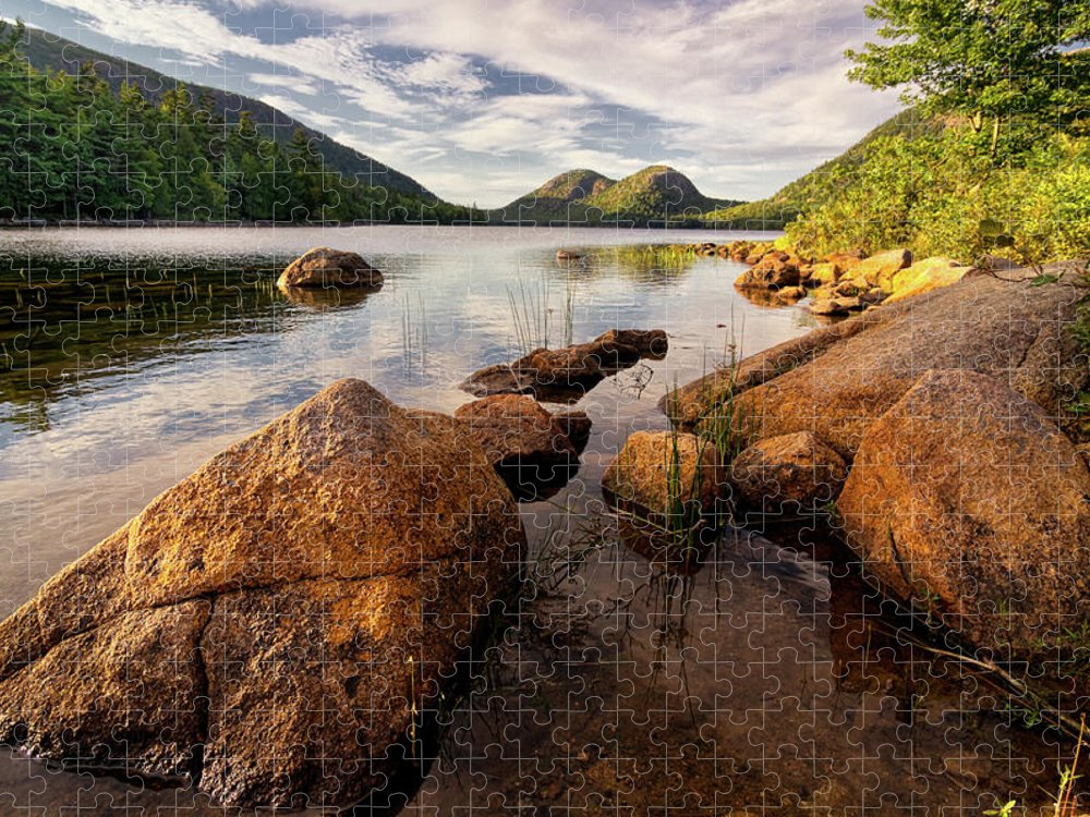 Scenics Puzzle featuring the photograph Jordan Pond Rocks by Www.cfwphotography.com