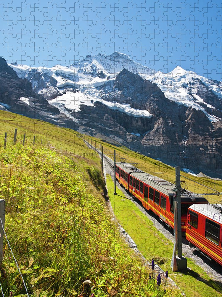 Scenics Puzzle featuring the photograph Jungfraubahn, Swiss Alps by Michaelutech