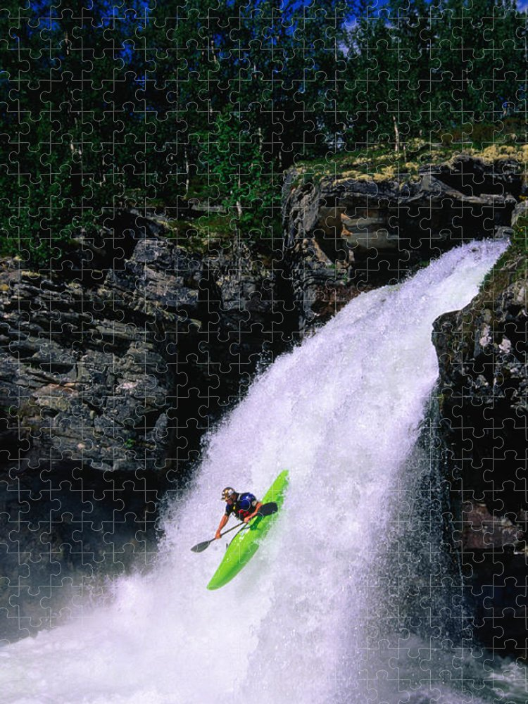 People Puzzle featuring the photograph Kayaker Going Down Waterfall Of Store by Anders Blomqvist