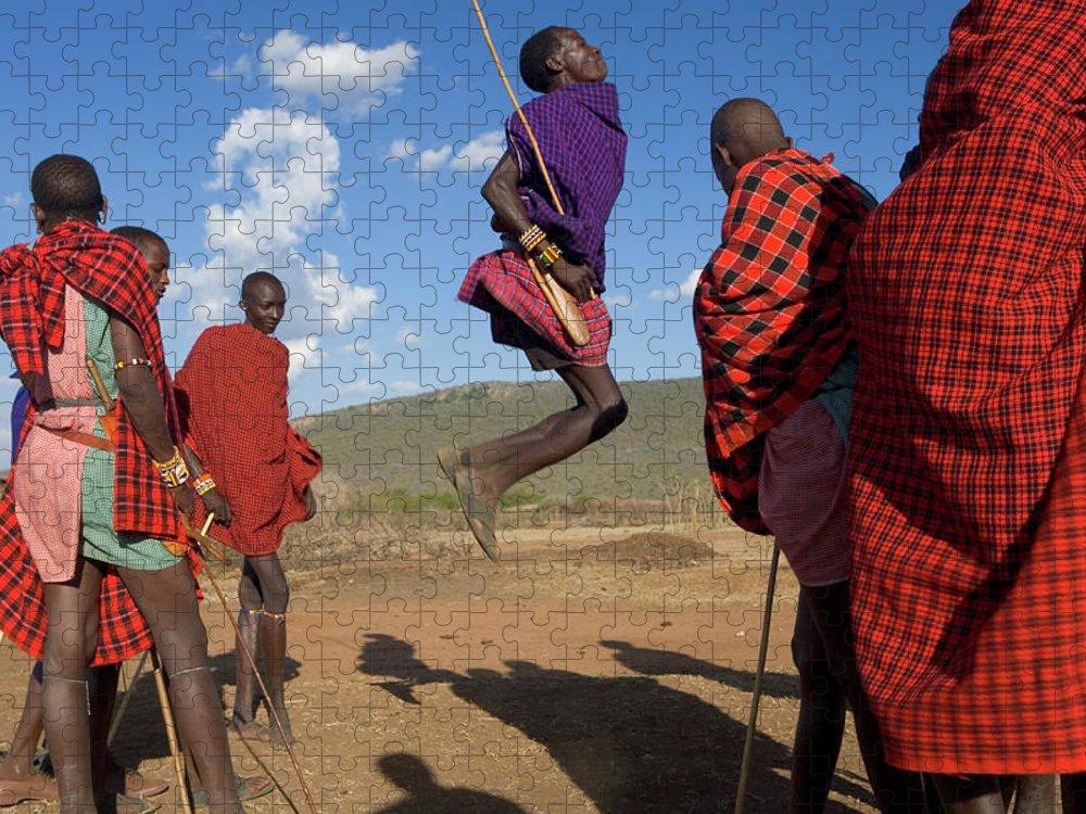 Young Men Puzzle featuring the photograph Kenya, Masai Mara, Masai Dancers by Peter Adams