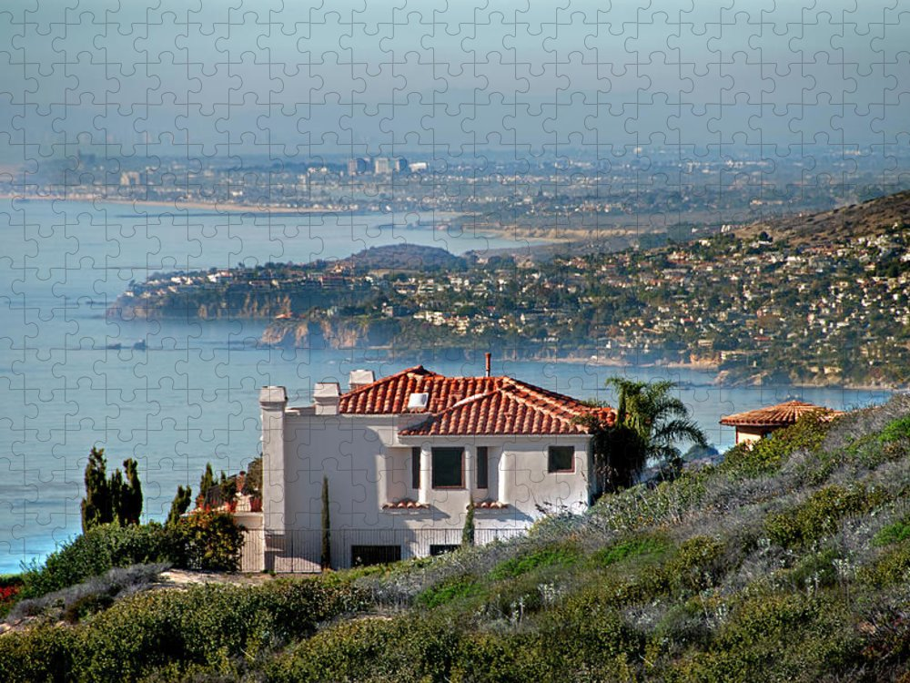 Laguna Beach Puzzle featuring the photograph Laguna Beach Hilltop Homes by Mitch Diamond
