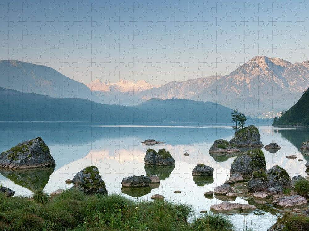 Scenics Puzzle featuring the photograph Lake Altaussee With Glacier Dachstein by 4fr