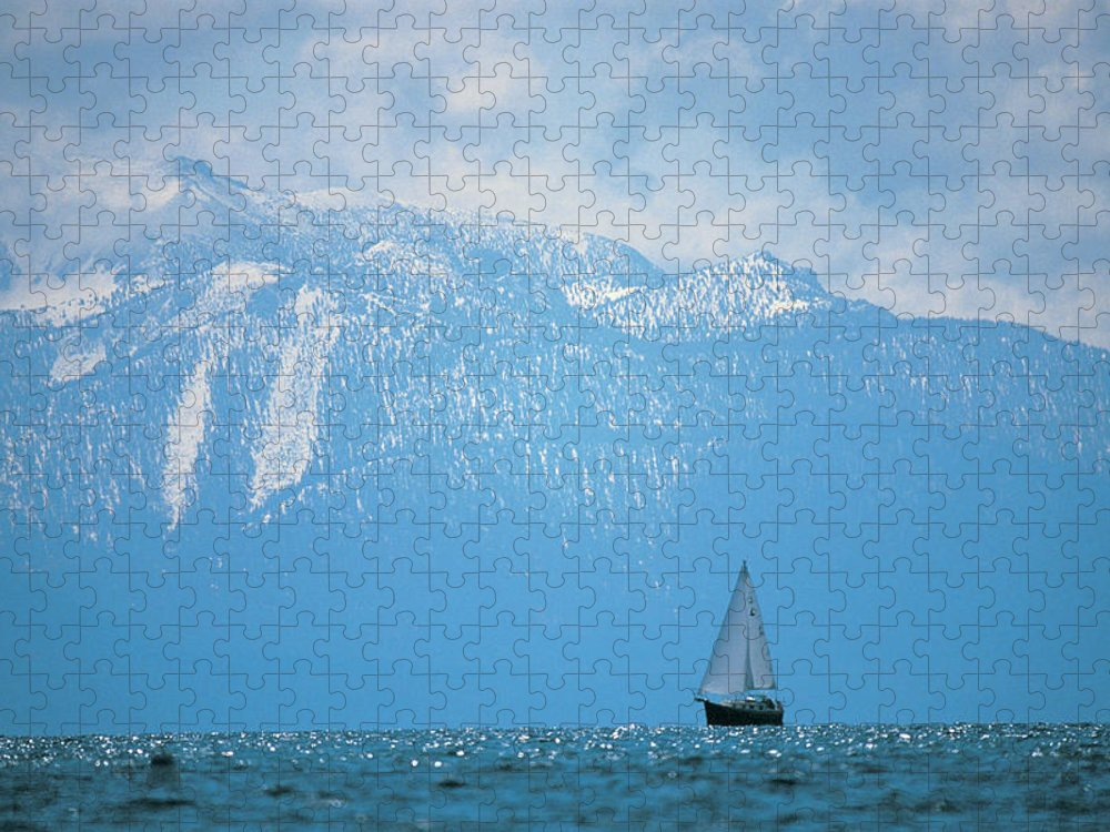 Scenics Puzzle featuring the photograph Lake Tahoe, Ca, Scenic Of Mountains And by Peter Adams