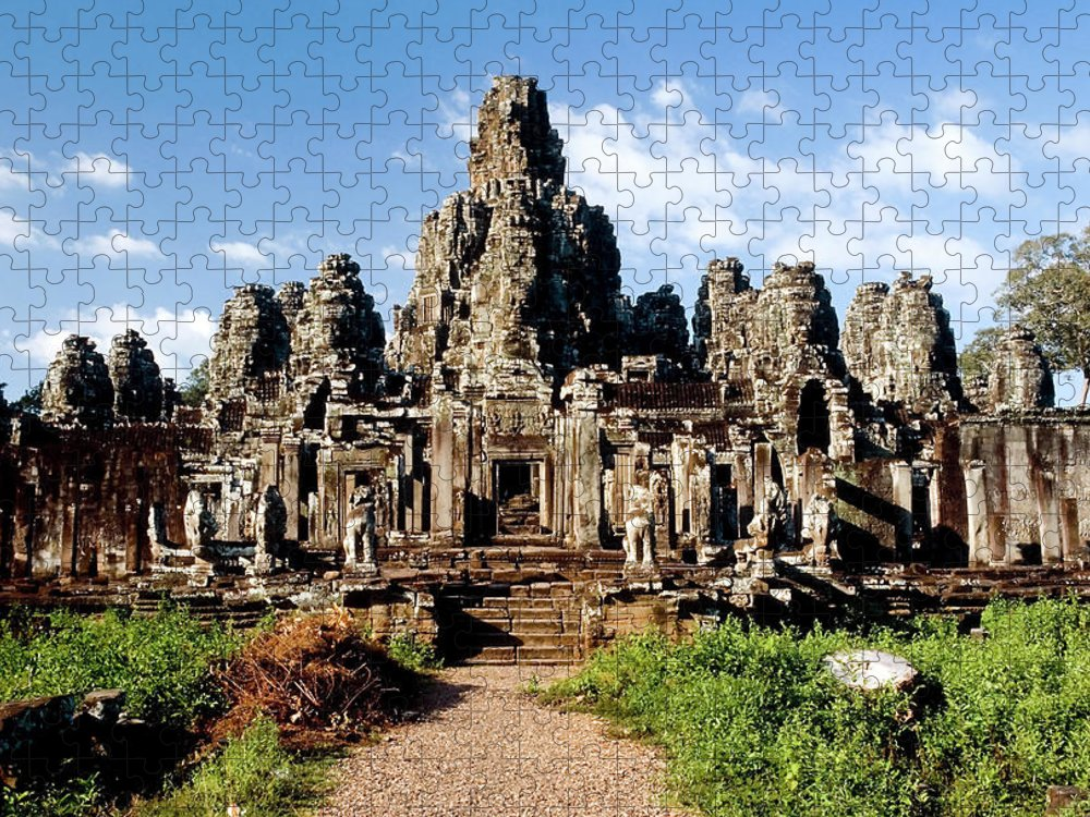 Scenics Puzzle featuring the photograph Landscape Photo Of Bayon Temple In by Laughingmango