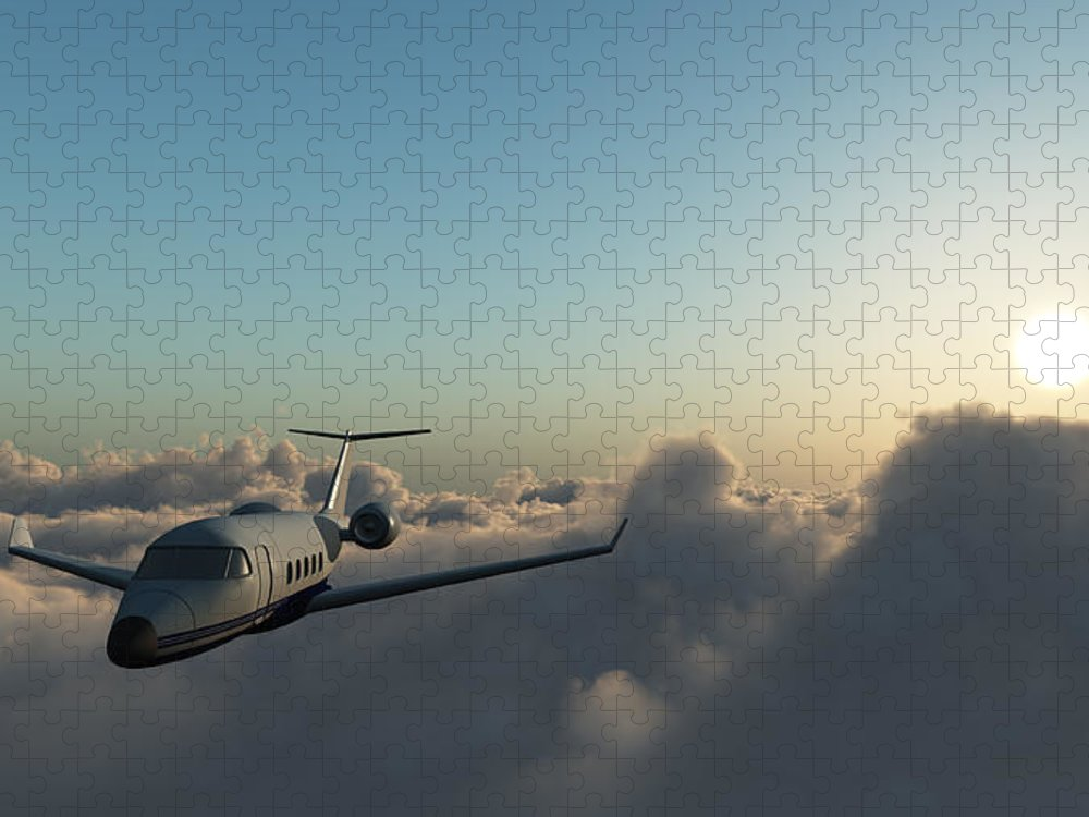 Mid-air Puzzle featuring the photograph Learjet 60 Above The Clouds by Joelena