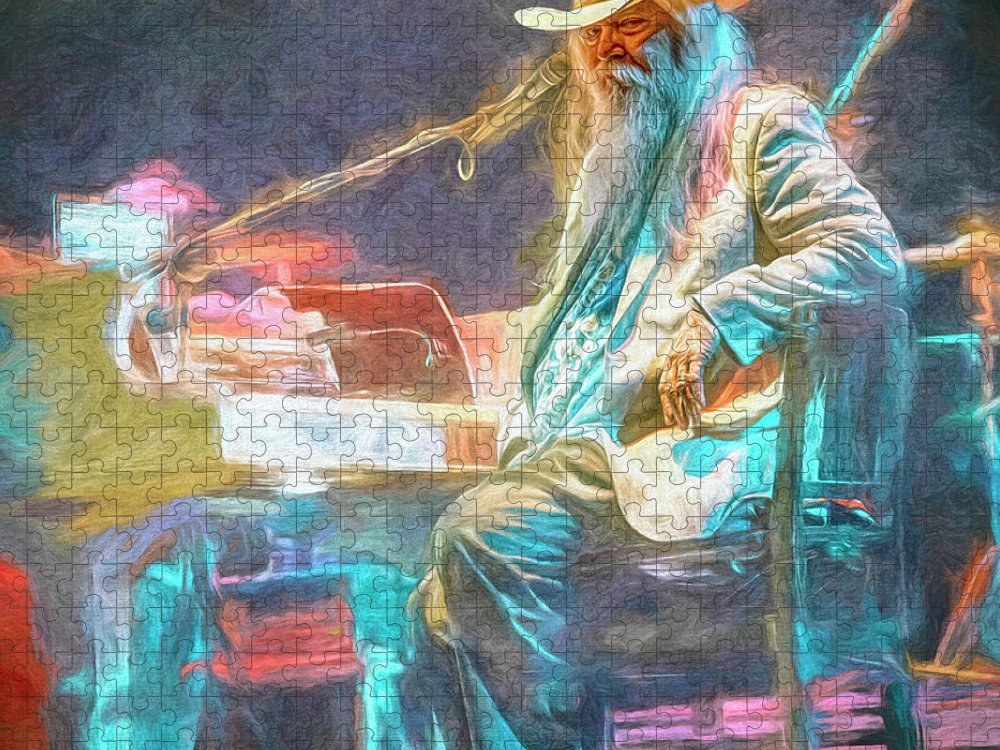 Leon Russell Puzzle featuring the mixed media Leon Russell by Mal Bray