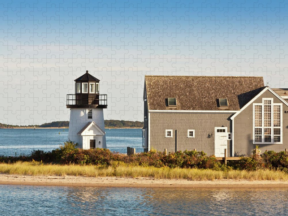 Grass Puzzle featuring the photograph Lewis Bay Lighthouse, Hyannis, Cape by Olegalbinsky