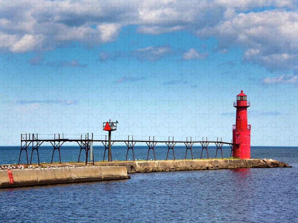 Lake Michigan Puzzle featuring the photograph Lighthouse And Pier On Lake Michigan by Jamesbrey