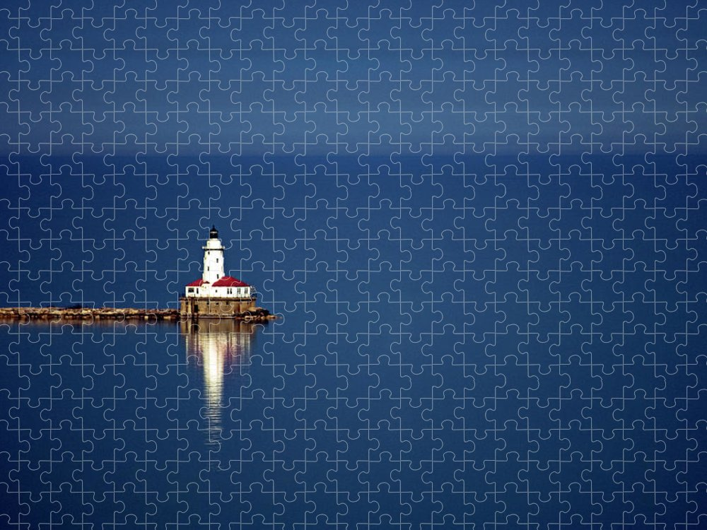 Outdoors Puzzle featuring the photograph Lighthouse On A Lake by By Ken Ilio