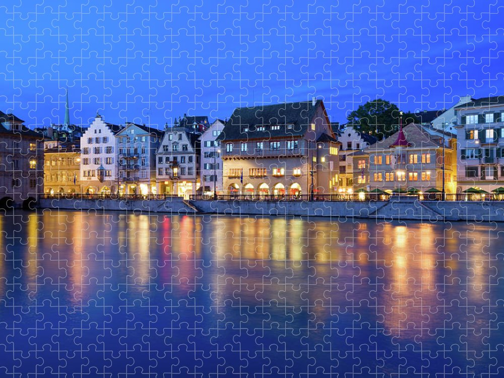 Zurich Puzzle featuring the photograph Limmat River Waterfront In Downtown by Benedek