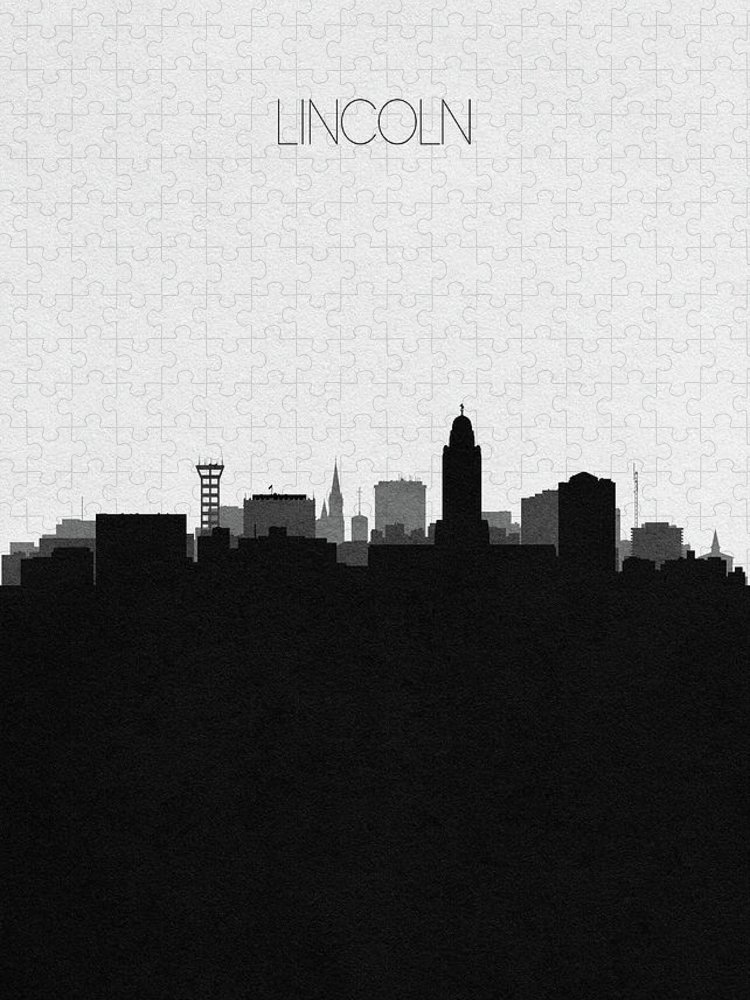 Lincoln Puzzle featuring the digital art Lincoln Cityscape Art by Inspirowl Design