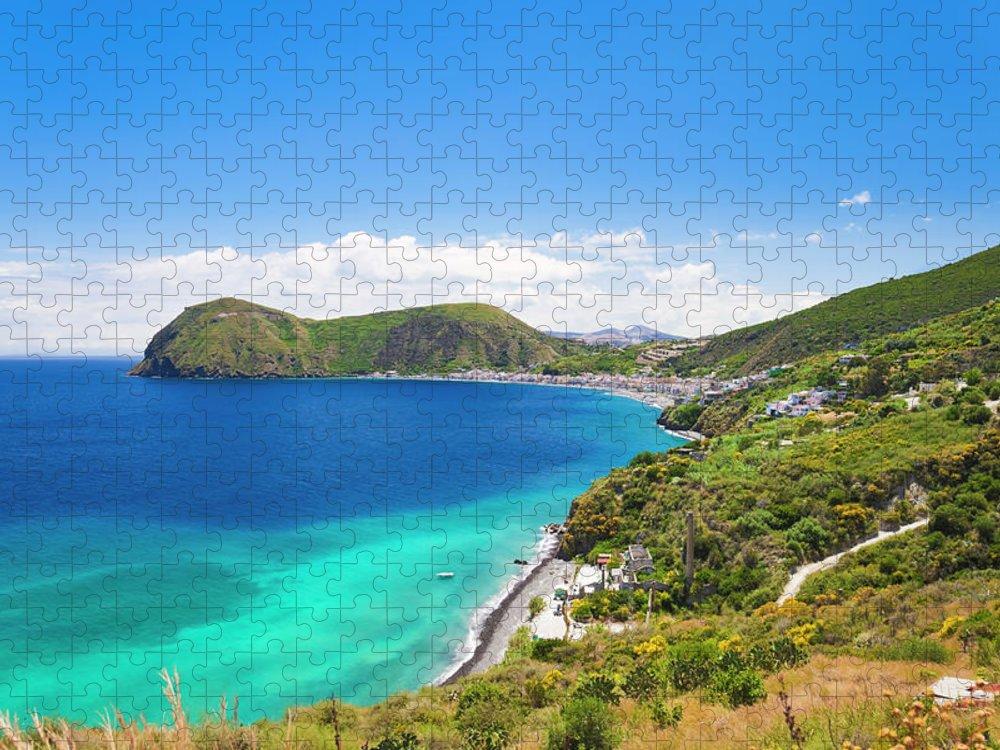 Tyrrhenian Sea Puzzle featuring the photograph Lipari Island Aeolian Islands, Sicily by Brzozowska