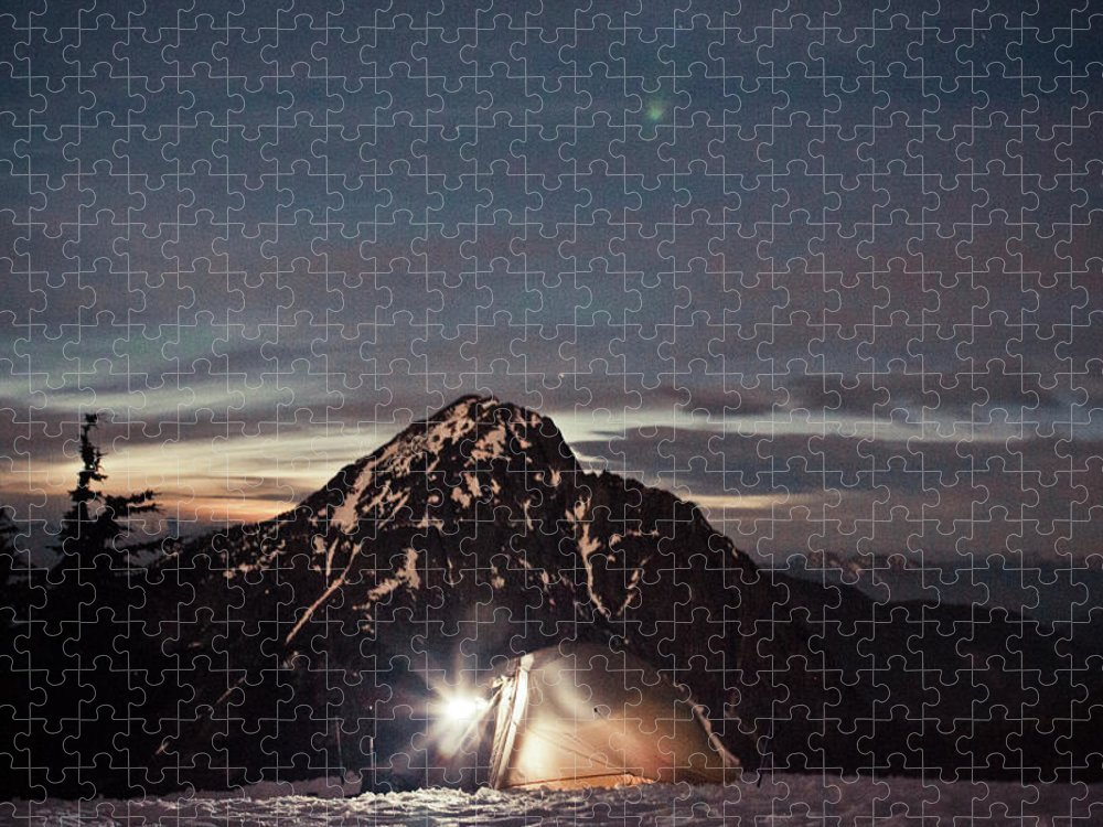 Camping Puzzle featuring the photograph Lit Tent At Night by Christopher Kimmel