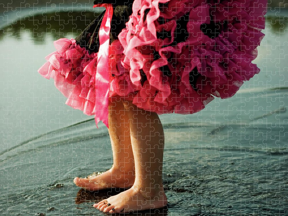 Toddler Puzzle featuring the photograph Little Girls Feet Splashing And Dancing by Ssj414