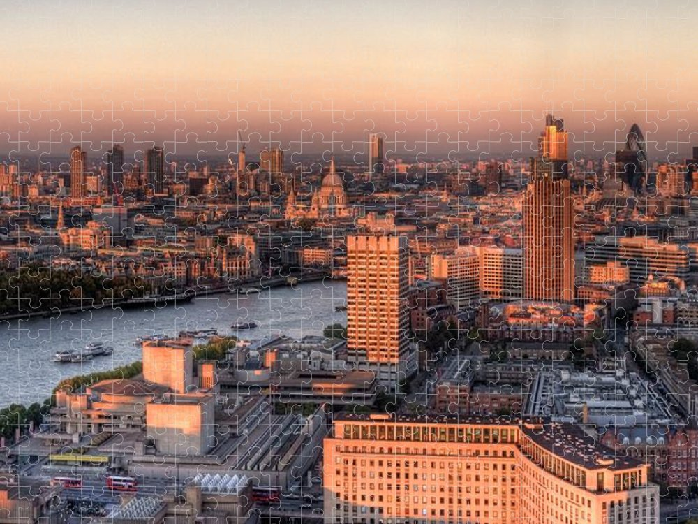Cityscape Puzzle featuring the photograph London Cityscape At Sunset by Michael Lee