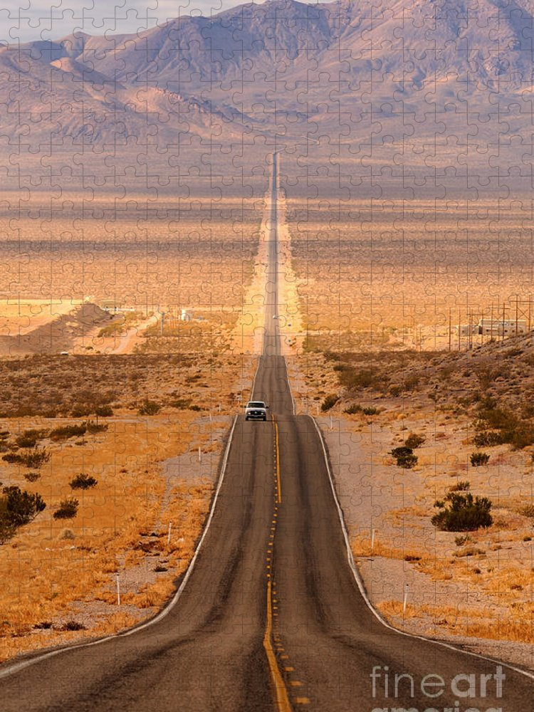 Southwest Puzzle featuring the photograph Long Desert Highway Leading Into Death by Nagel Photography
