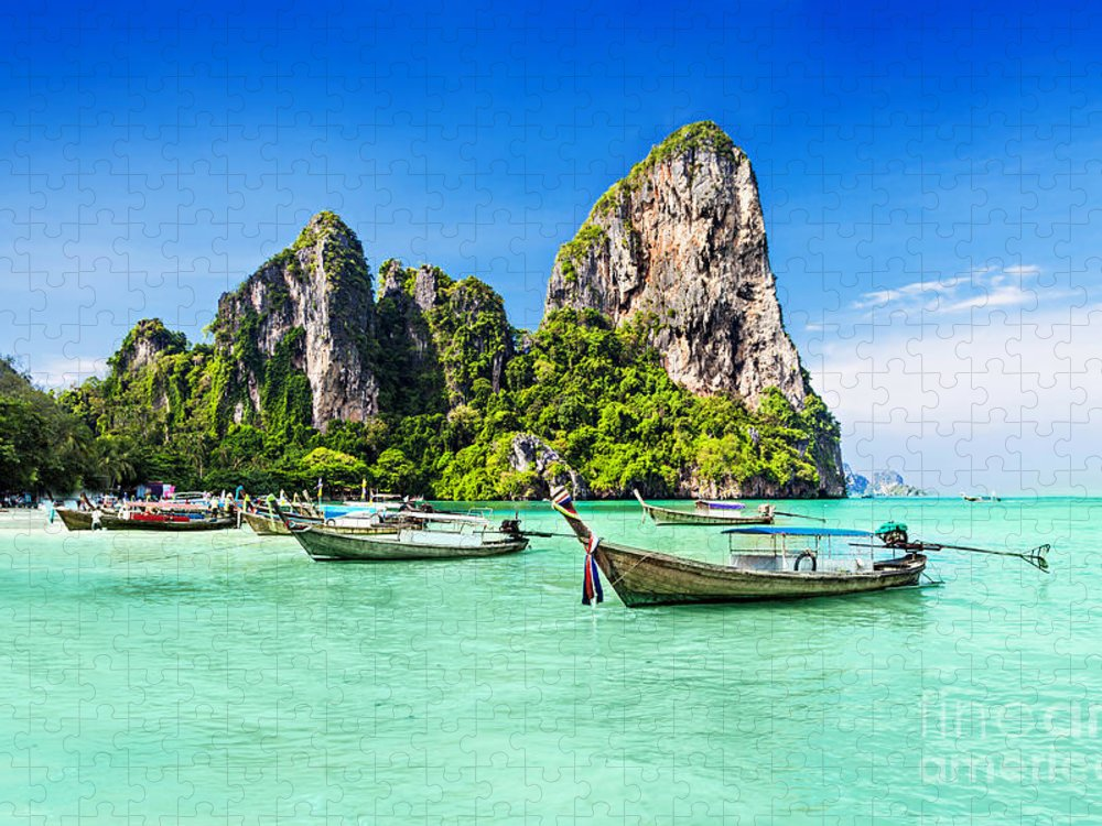 Andaman Puzzle featuring the photograph Longtale Boats At The Beautiful Beach by Saiko3p