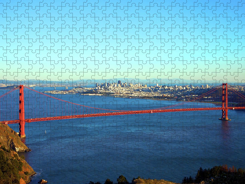 Downtown District Puzzle featuring the photograph Looking Down At The San Francisco Bridge by Ekash