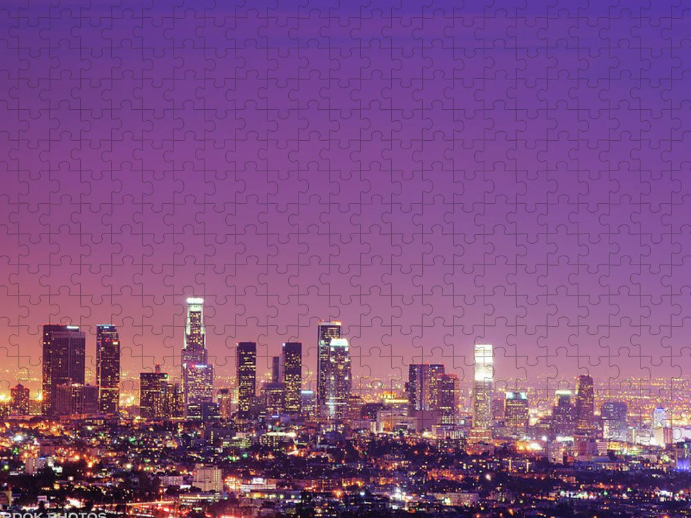 Clear Sky Puzzle featuring the photograph Los Angeles At Dusk by Dj Murdok Photos