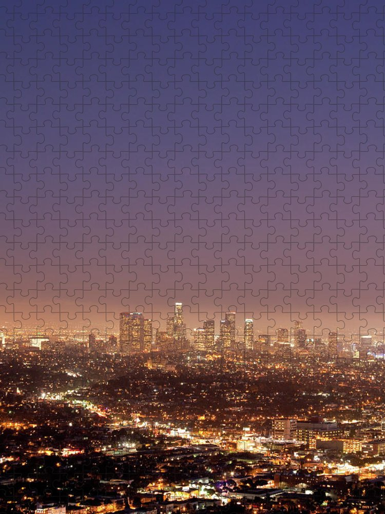 Scenics Puzzle featuring the photograph Los Angeles Skyline At Twilight by Uschools