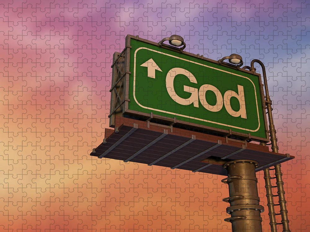 Information Medium Puzzle featuring the photograph Low Angle View Of A God Billboard At by Philpell