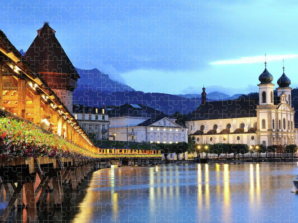 Built Structure Puzzle featuring the photograph Lucerne At Dusk by Aimintang