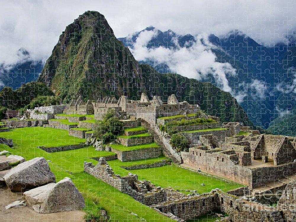 Civilization Puzzle featuring the photograph Machu Picchu In Peru Unesco World by Byelikova Oksana