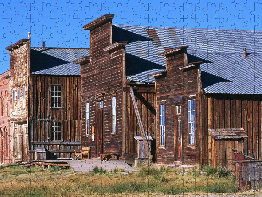 Grass Puzzle featuring the photograph Main Street Buildings At Bodie Historic by John Elk Iii
