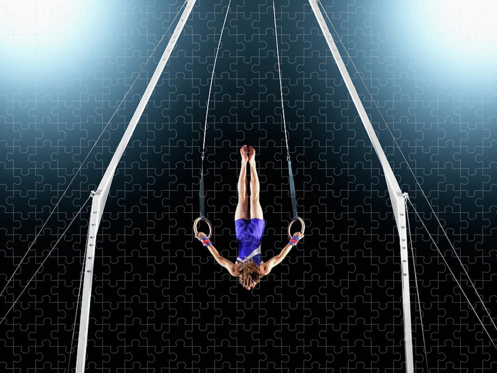 Focus Puzzle featuring the photograph Male Gymnast Upside Down Performing On by Robert Decelis Ltd