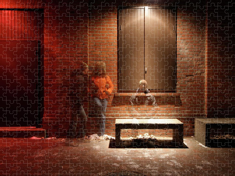 Mature Adult Puzzle featuring the photograph Man And Woman Leaning Against A Brick by Lori Andrews