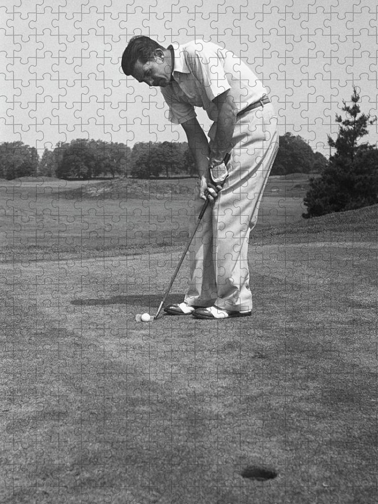People Puzzle featuring the photograph Man Golfing by George Marks
