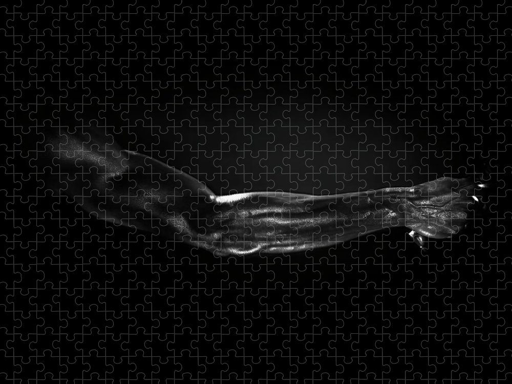 Human Arm Puzzle featuring the photograph Man Holding Tennis Racket, B&w Digital by Hans Neleman