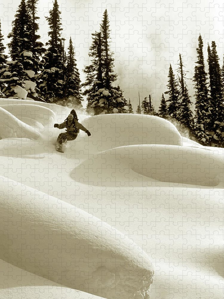 One Man Only Puzzle featuring the photograph Man Snowboarding B&w Sepia Tone by Per Breiehagen