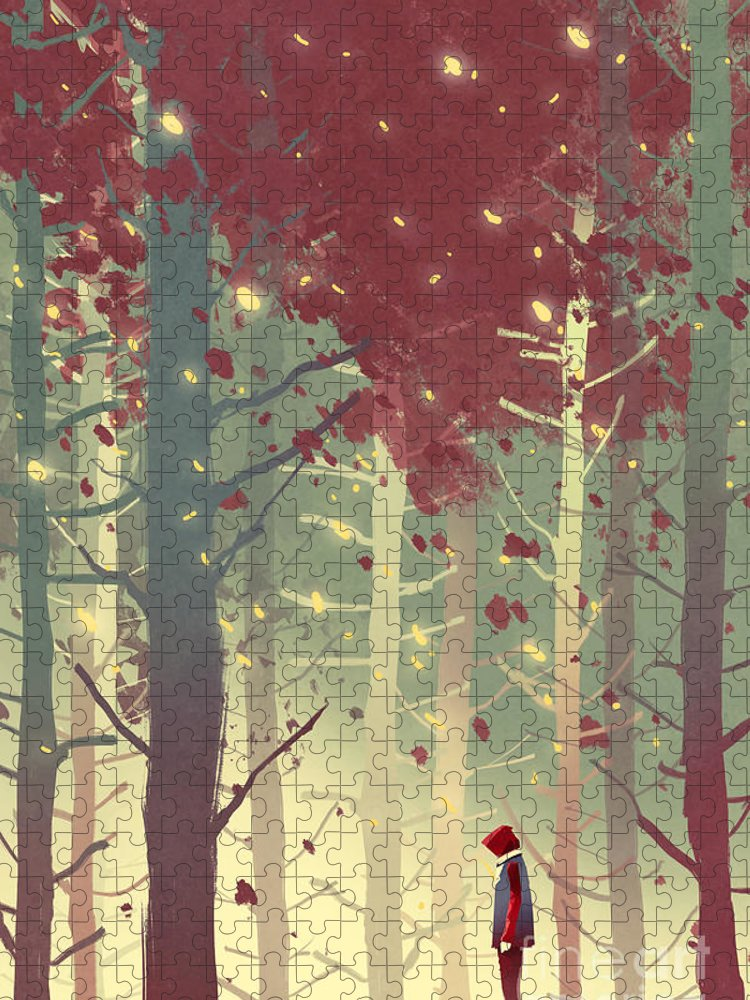 Art Puzzle featuring the digital art Man Standing In Beautiful Forest by Tithi Luadthong