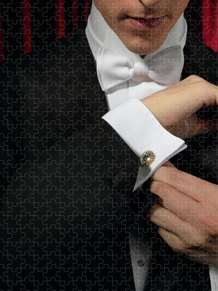 Adjusting Puzzle featuring the photograph Man Wearing Tuxedo, Adjusting Cufflink by Kelvin Murray
