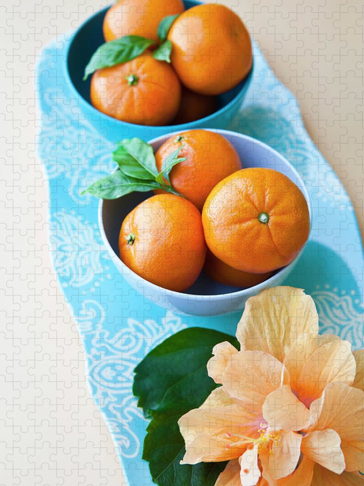 Florida Puzzle featuring the photograph Mandarin Oranges On A Platter by Pam Mclean