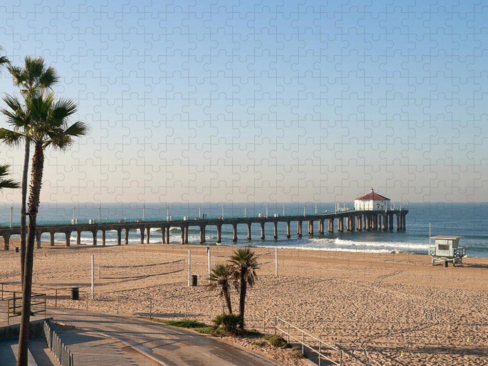 Manhattan Beach Puzzle featuring the photograph Manhattan Beach Pier by Stellalevi