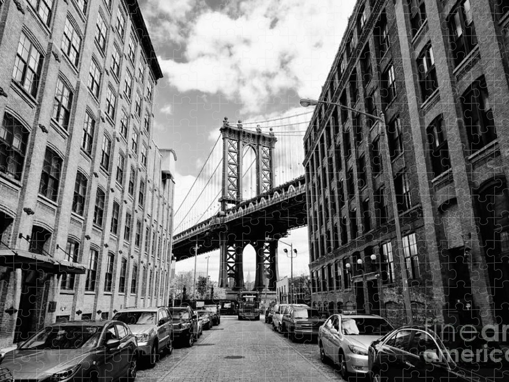 Usa Puzzle featuring the photograph Manhattan Bridge Seen From A Brick by Youproduction