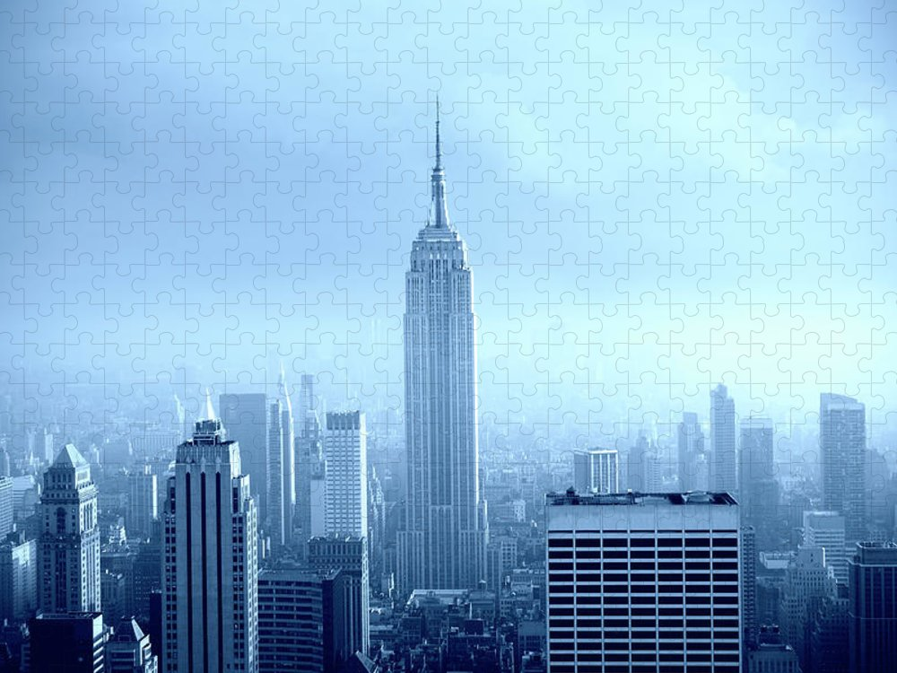 Lower Manhattan Puzzle featuring the photograph Manhattan Skyline In The Fog, Nyc. Blue by Lisa-blue