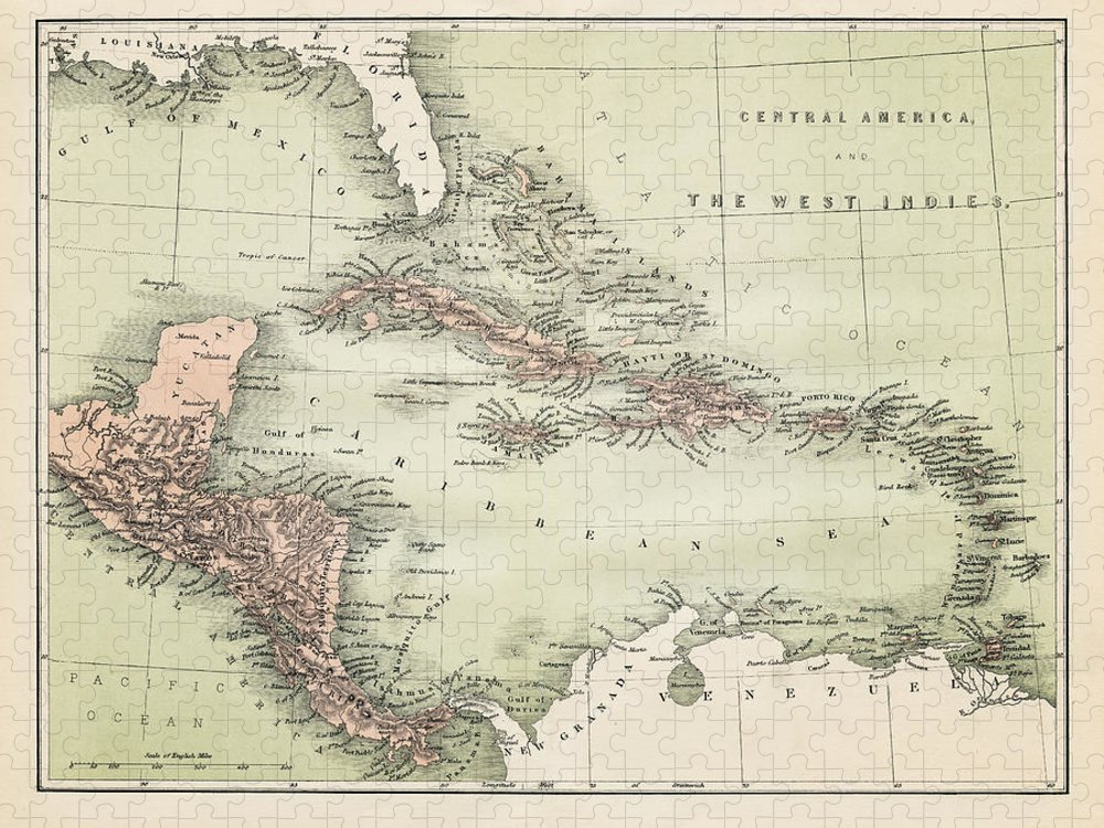 Barbados Puzzle featuring the digital art Map Od The Caribbean 1860 by Thepalmer