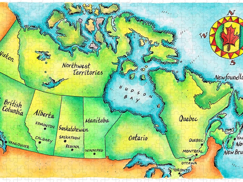 Watercolor Painting Puzzle featuring the digital art Map Of Canada by Jennifer Thermes
