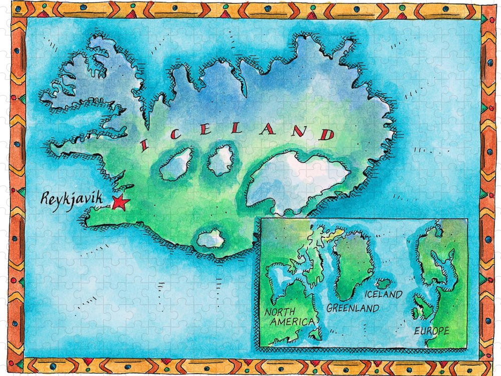 Watercolor Painting Puzzle featuring the digital art Map Of Iceland by Jennifer Thermes