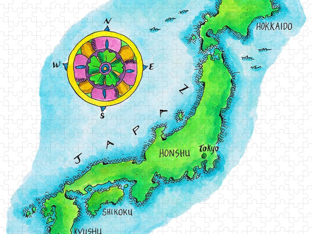 Hokkaido Puzzle featuring the digital art Map Of Japan by Jennifer Thermes