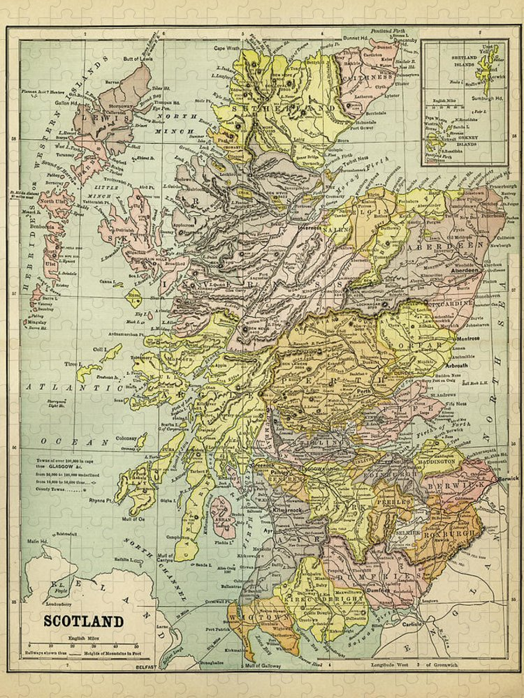 Vertical Puzzle featuring the digital art Map Of Scotland 1883 by Thepalmer