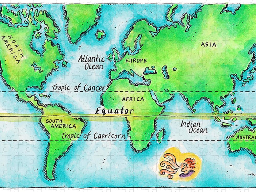 Watercolor Painting Puzzle featuring the digital art Map Of The World & Equator by Jennifer Thermes