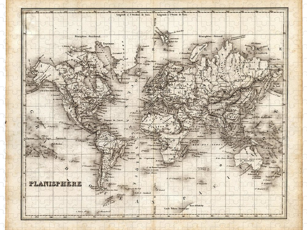 Oceania Puzzle featuring the digital art Map Of The World 1842 by Thepalmer