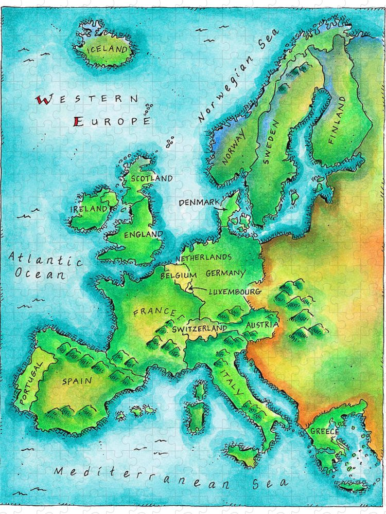 Watercolor Painting Puzzle featuring the digital art Map Of Western Europe by Jennifer Thermes