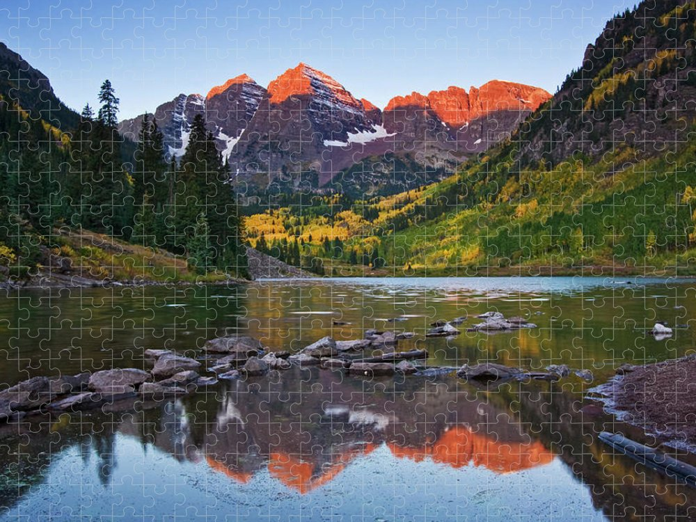 Scenics Puzzle featuring the photograph Maroon Bells Dawn by Sandra Kreuzinger